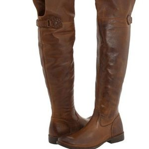 Frye Shirley OTK Leather Pull On VGC Brown Boot 6